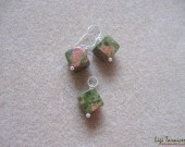 Unakite earrings and pendant set