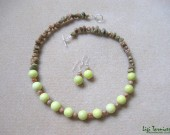 Lime jade, autumn jasper chips and sterling silver - necklace and earrings set