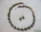 Green jasper, autumn jasper chips and sterling silver - necklace and earrings set