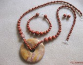 Red jasper, agate pendant - necklace, bracelet and earrings set