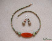 Unakite and carnelian pendant necklace and earrings set