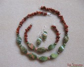 Unakite, red jasper and sterling silver necklace, bracelet and earrings set