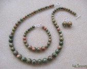 Unakite and sterling silver set