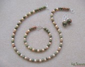 Unakite, peach freshwater pearls and sterling silver set