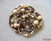 Brecciated jasper, white wood and sunstone - necklace