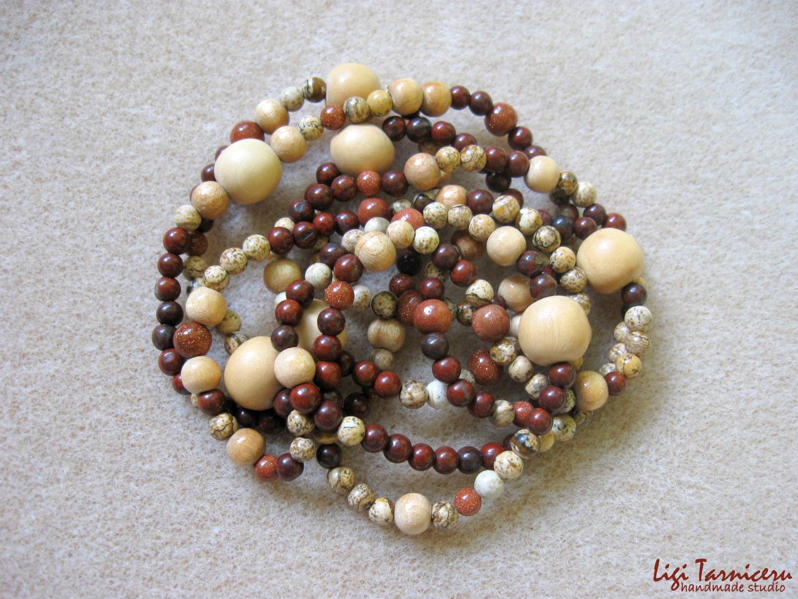 Brecciated jasper, white wood and sunstone - necklace