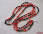 Bamboo coral and sterling silver necklace