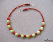 Lime jade, red bamboo coral and sterling silver - necklace