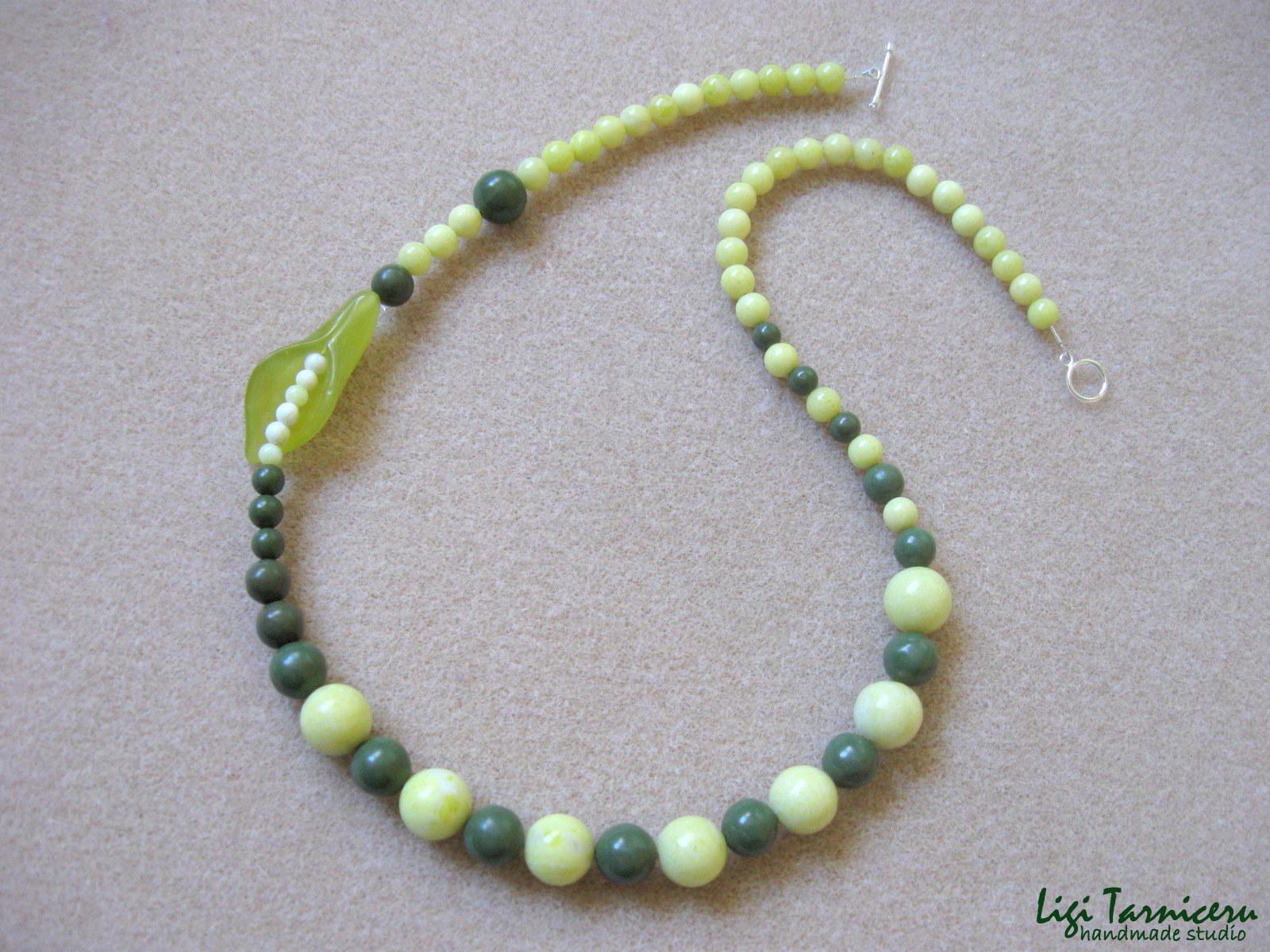 Lime jade, green jasper and sterling silver - necklace