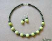 Lime jade, green jasper and sterling silver - necklace and earrings set