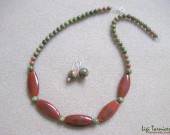 Unakite, agate and sterling silver necklace and earrings set