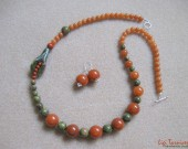 Unakite, aventurine and sterling silver set
