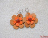 Large leather, carnelian and oxidized copper flower earrings