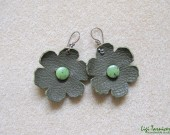 Large leather, canadian jade and oxidized copper flower earrings