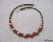 Unakite, carnelian and sterling silver necklace