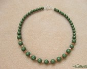 Green jasper, autumn jasper and sterling silver - necklace