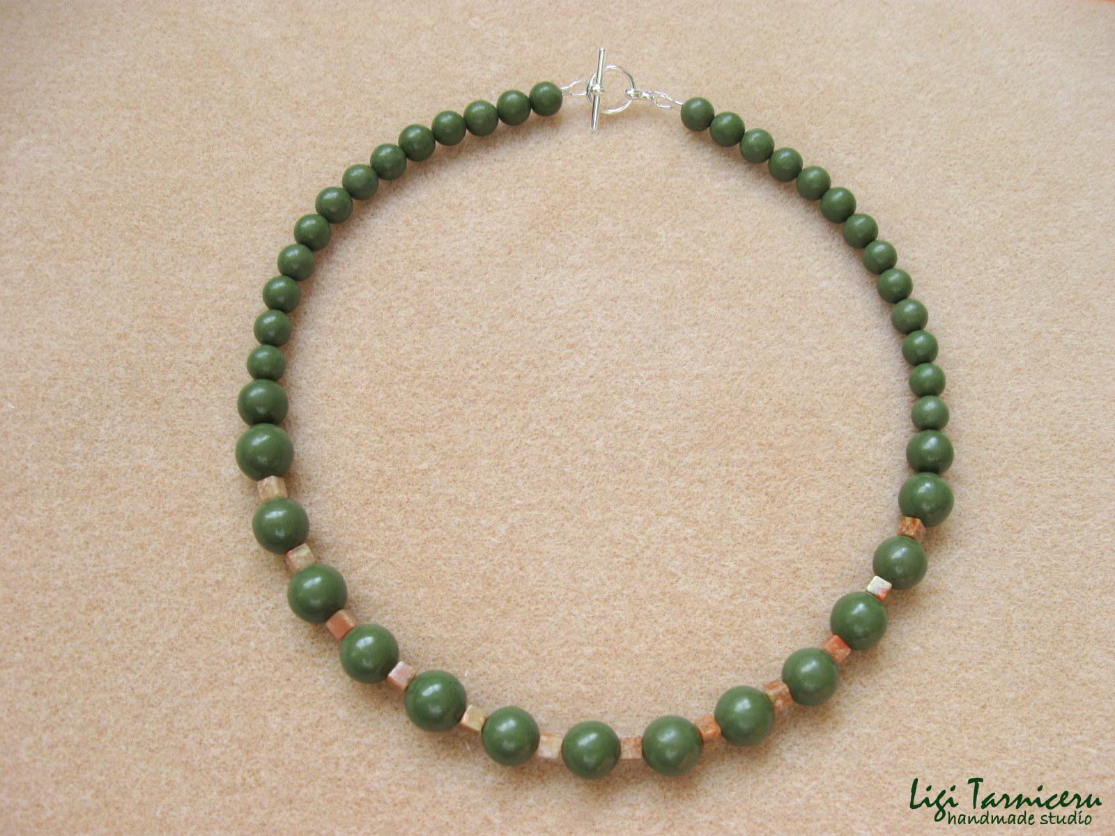 Green jasper, autumn jasper and sterling silver - necklace