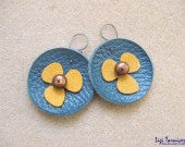 Medium leather, suede, brown freshwater pearls and oxidized flower earrings