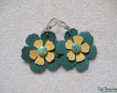 Large leather, suede, jade and oxidized copper flower earrings
