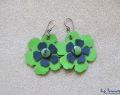 Large leather, jade and oxidized copper flower earrings