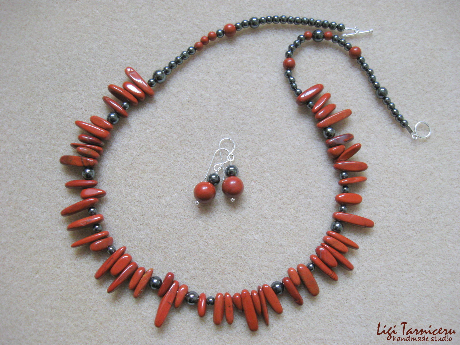 Red jasper, hematite and sterling silver - necklace and earrings set