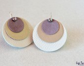 Large leather, suede, bleumarine freshwater pearls and oxidized copper earrings