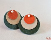 Large leather, suede, peach freshwater pearls and sterling silver earrings
