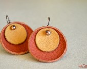 Medium leather, suede, freshwater pearls and oxidized copper earrings
